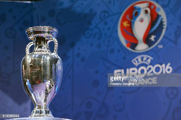 The trophy pictured during a press conference on the occasion of 100 days before UEFA EURO 2016 at Maison de la Radio on March 2 2016 in Paris France