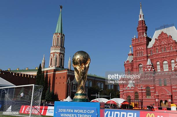 The Trophy setups on the Red Square during FIFA '1000 Days to Go' Russia 2018 on September 18 2015 in Moscow Russia