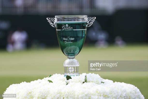The trophy sits on the 18th tee box during round three of A Military Tribute At The Greenbrier held at the Old White TPC course on July 7 2018 in...