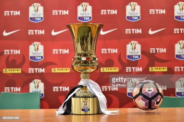 The trophy Tim Cup of Italy 2017 is seen during a prematch press conference on May 16 2017 at Stadio Olimpico in Rome Italy