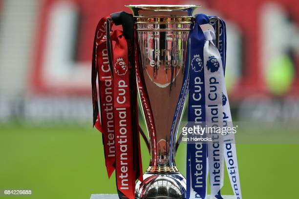 The trophy waits for the winners during the Premier League International Cup Final match between Sunderland and Porto at Stadium of Light on May 17...