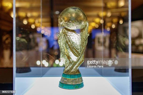 The trophy won by Spain in the World Cup of South Africa 2010 is exhibited at 'Espacio Seleccion' exhibition at Telefonica flagship store on June 6,...