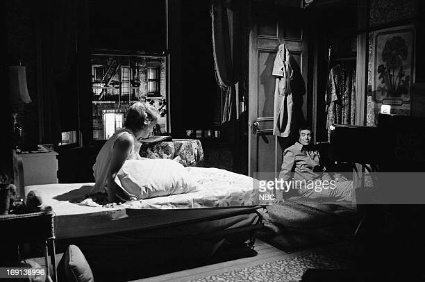 THEATRE 'The Trouble with People' Pictured Renee Taylor as Lure Joseph Campanella as Detective in 'The Night Visitor'
