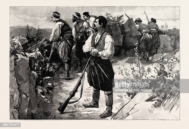 The Troubles In Crete Insurgents In A Mountain Fastness On The Look Out For The Turkish Troops Greece Engraving 1890