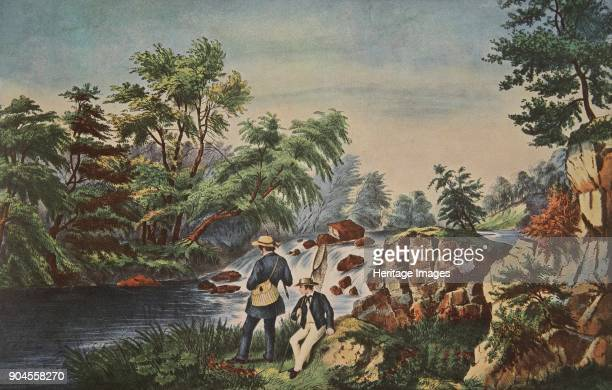 The Trout Stream Currier Ives pub 1852