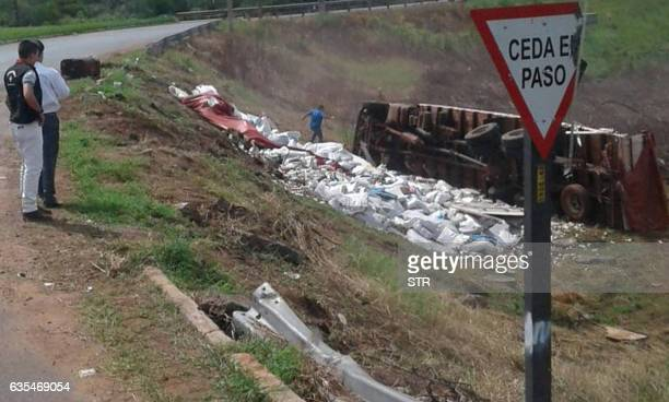 The truck transporting a hoard of 50 and 100 Venezuelan Bolivar bills weighing about 30 tons that was seized by the police in Salto del Guaira on the...