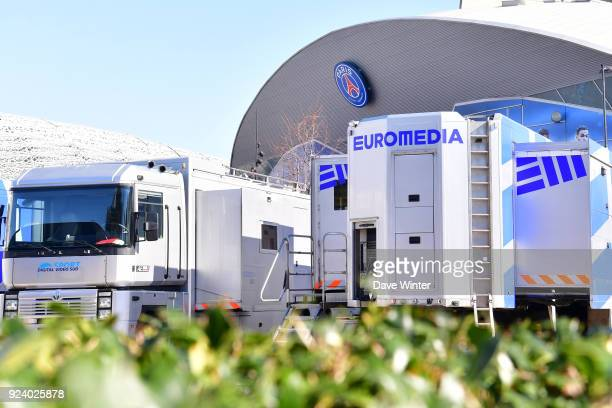 The trucks belonging to Euromedia the company who provide the television services for the broadcaster parked in the tv compound outside the stadium...
