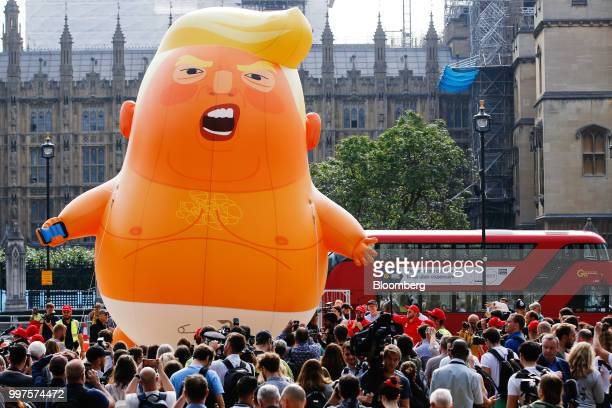The 'Trump Baby' blimp a six meterhigh heliumfilled effigy of US President Donald Trump lifts off from Parliament Square in London UK on Friday July...