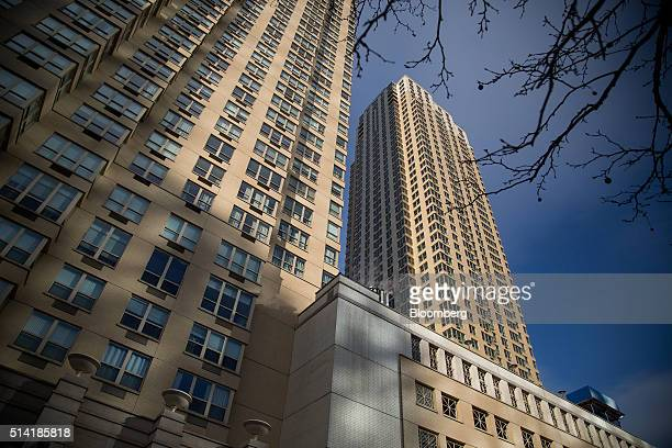 The Trump Bay Tower stands under construction right next to the Trump Plaza Residence building in Jersey City New Jersey US on Saturday March 5 2016...