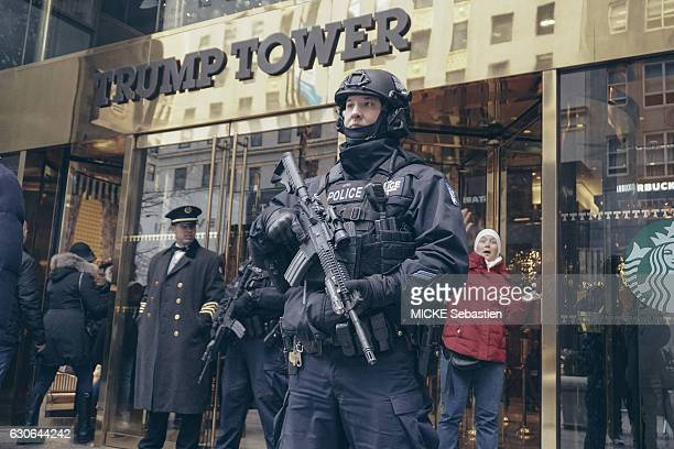 The Trump Tower in New York after the election of Donald Trump on December 11 2016 Heavily armed policemen guard the entrance