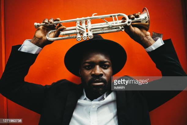 the trumpet player - soul music stock pictures, royalty-free photos & images