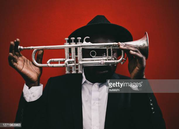the trumpet player - blues music stock pictures, royalty-free photos & images