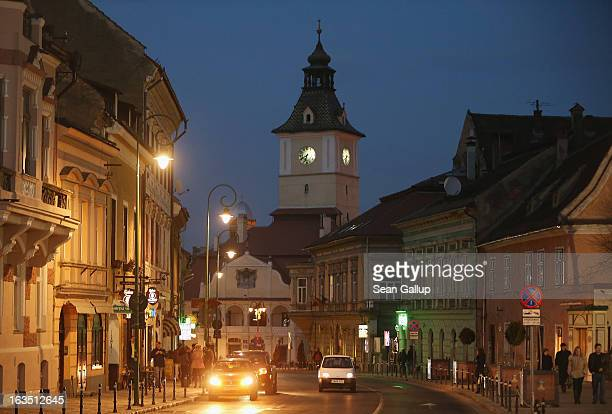 The trumpeter's tower of the former Council House built in 1420 stands among houses in the historic district on March 9 2013 in Brasov Romania Brasov...