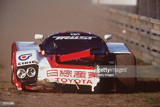 The Trust Racing Toyota in trouble during the Le Mans 24 hour endurance race at Le Mans France Mandatory Credit Allsport UK/Getty Images