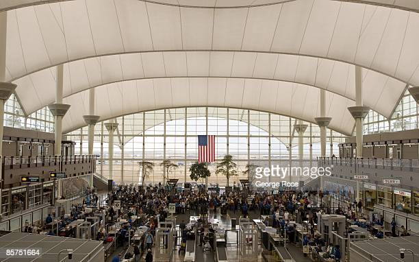 The TSA security checkpoint in the main terminal tent at Denver International Airport is seen in this 2009 Denver Colorado interior photo