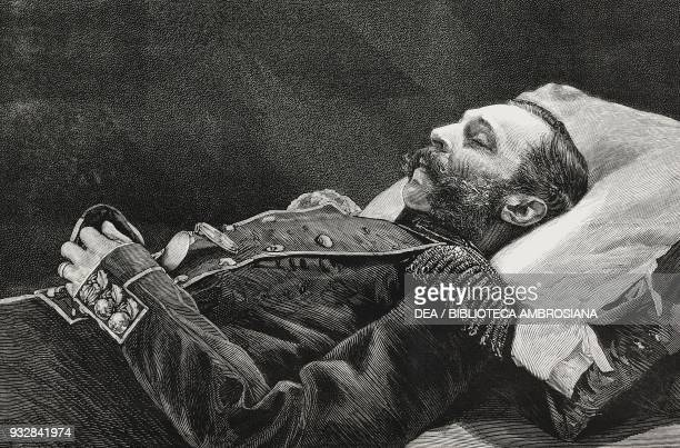 The Tsar, from a photograph taken soon after death, the assassination of Tsar Alexander II of Russia, illustration from the magazine The Graphic,...