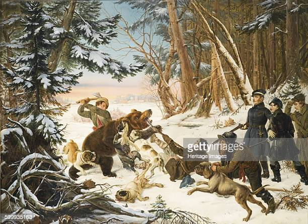 The Tsarevich Alexander Nikolaevich on a Bear hunt on the Outskirts a Moscow 1843 Private Collection Artist Grashof Otto