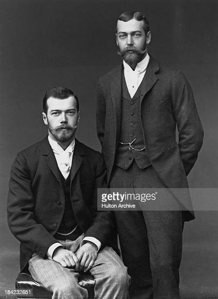 The Tsarevich of Russia with his cousin Prince George Duke of York UK 1893 Nicholas is in Britain for George's wedding to Princess Mary of Teck