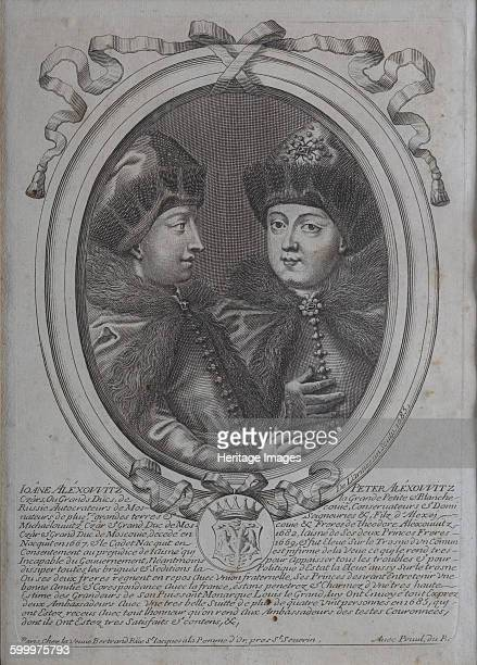 The Tsars Ivan Alexeyevich and Peter Alexeyevich of Russia. Found in the collection of Constantine Palace, St. Petersburg. Artist : Larmessin,...
