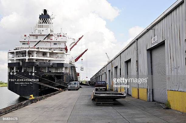 The TSGT John A Chapman sits anchored at the Port of Lake Charles as food aid is loaded onto the ship in Lake Charles Louisiana US on Monday July 14...