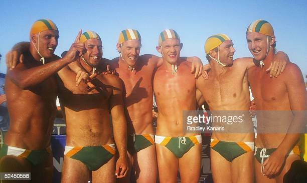 The Tugan team celebrate the mens open Taplin Relay event during the Australian Surf Lifesaving Championships at Kurrawa Beach on March 19 2005 at...