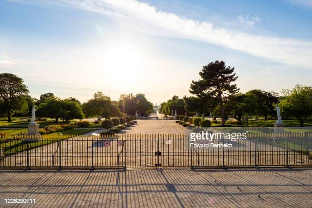 The Tuileries garden is seen closed to the public, on May 21, 2020 in Paris, France. The Coronavirus pandemic has spread to many countries across the...