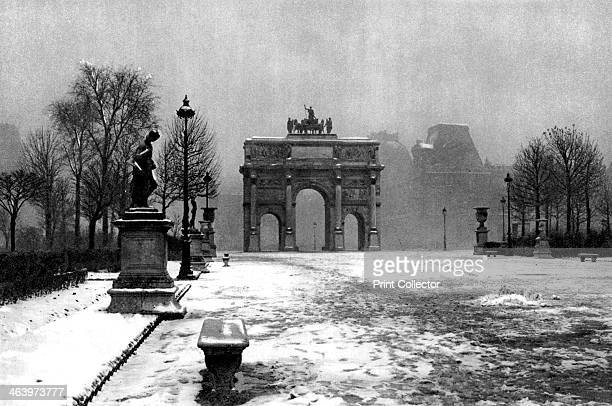 The Tuileries under snow and the Carrousel Arch Paris 1931 Illustration from the book Paris published by Ernest Flammarion