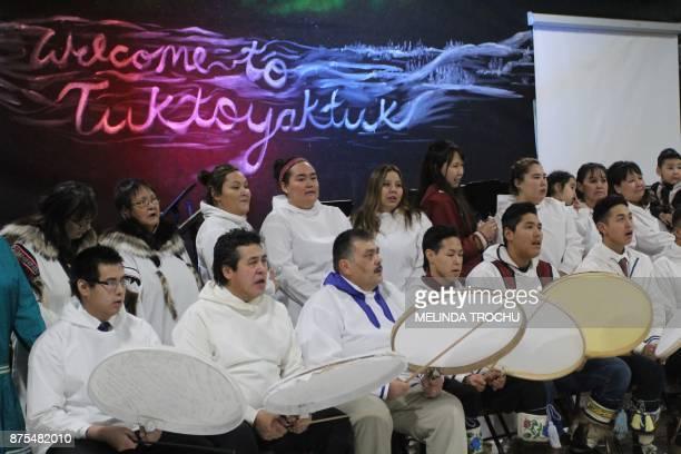 The Tuk drummers and dancers perform at the Donald Kuptana Sr Arena on November 15 2017 in Tuktoyaktuk Canada The Inuvik to Tuktoyaktuk highway...