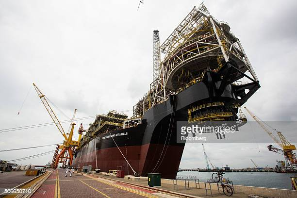 The Tullow Oil Plc Prof John Evans Atta Mills Floating Production Storage and Offloading vessel sits docked at the Sembcorp Marine Tuas shipyard in...