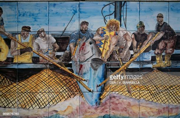 The tuna slaughter painted on ceramic tiles in the square in Favignana Aegadian Islands Sicily Italy