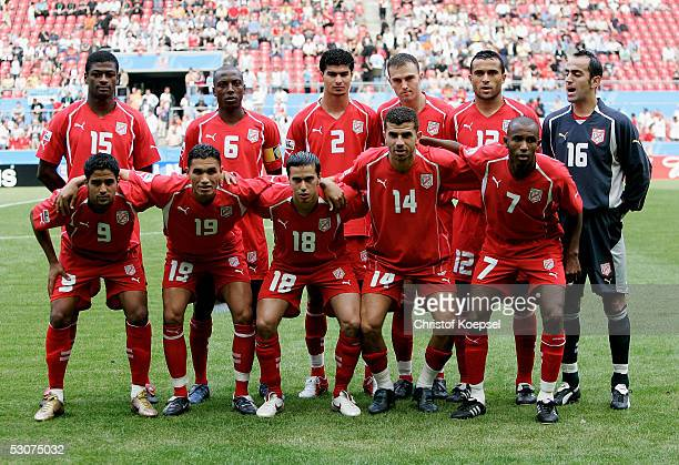 The Tunisia national team before the during the FIFA Confederations Cup Match between Argentina and Tunisia at the Rhein Energy Stadium on June 15...