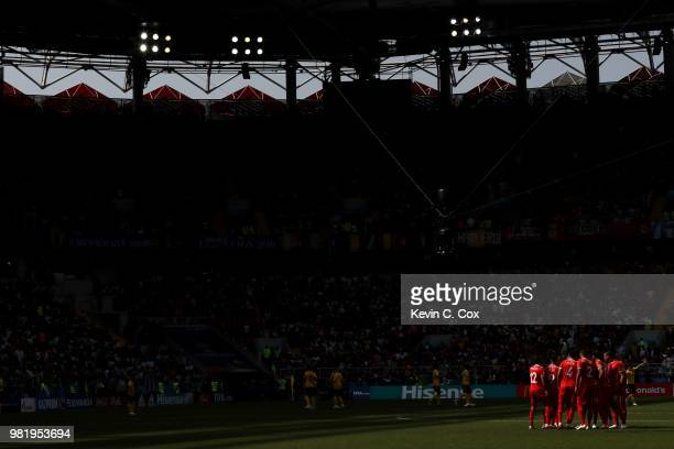 The Tunisia players form a team huddle prior to the 2018 FIFA World Cup Russia group G match between Belgium and Tunisia at Spartak Stadium on June...