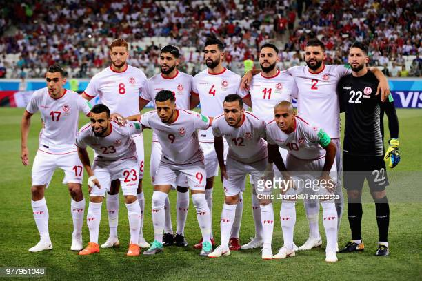 The Tunisia team line up before the 2018 FIFA World Cup Russia group G match between Tunisia and England at Volgograd Arena on June 18 2018 in...