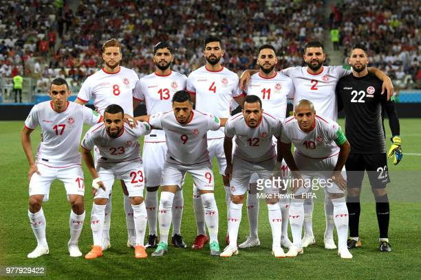 The Tunisia team pose for a team photo prior to the 2018 FIFA World Cup Russia group G match between Tunisia and England at Volgograd Arena on June...
