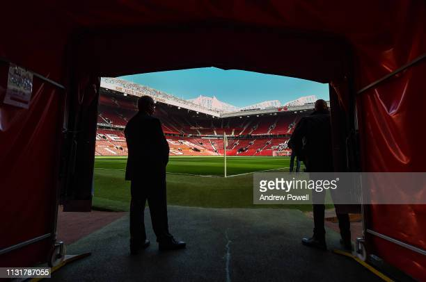 The tunnel before the Premier League match between Manchester United and Liverpool FC at Old Trafford on February 24, 2019 in Manchester, United...
