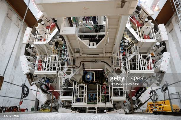 The tunnel boring machine is pictured on the drilling site of the future Metro Line 15 South of the Grand Paris Express on January 23 2018 in...