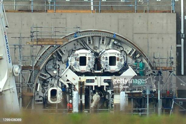 The tunnel boring machines are prepared at the entrance to the HS2 Chiltern tunnel, on January 29, 2021 in Great Missenden, England. Two 2,000-ton...