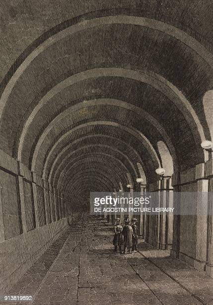 The tunnel under the Thames river London England United Kingdom engraving by Lemaitre from Angleterre Ecosse et Irlande Volume IV by Leon Galibert...