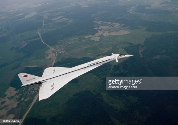 The Tupolev Tu144 commercial supersonic transport aircraft produced by Soviet Union' Tupolev design bureau in flight