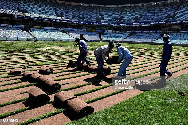 The turf is removed from the Free State Stadium during the 2nd World News Agency Media Tour on November 26, 2008 in Bloemfontein, South Africa.
