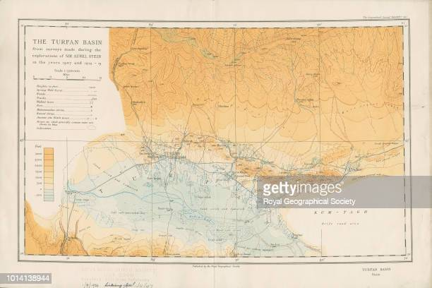 The Turfan Basin from surveys made during the explorations of Sir Aurel Stein in the years 1907 and 191415 Published London Royal Geographical...
