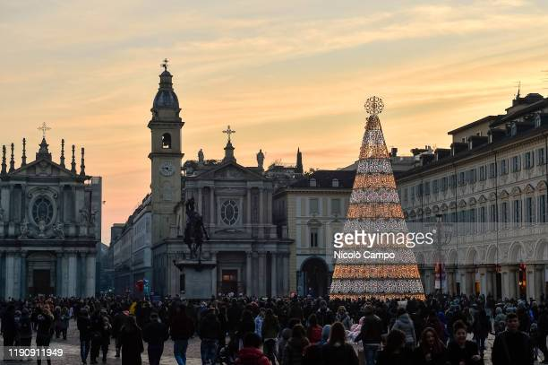 The Turin Christmas tree is seen in Piazza San Carlo. The Turin Christmas is lit up from 1st December 2019 until 6th January 2020.