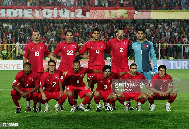 The Turkey team line up before the UEFA Euro 2008 Qualifying match between Turkey and Greece at Ali Sami Yen Stadium on October 17 2007 in...