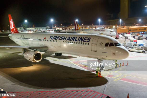 The Turkish Airlines aircraft operates on the runway to bring German human rights activist Peter Steudtner to the Tegel Airport from Istanbul...