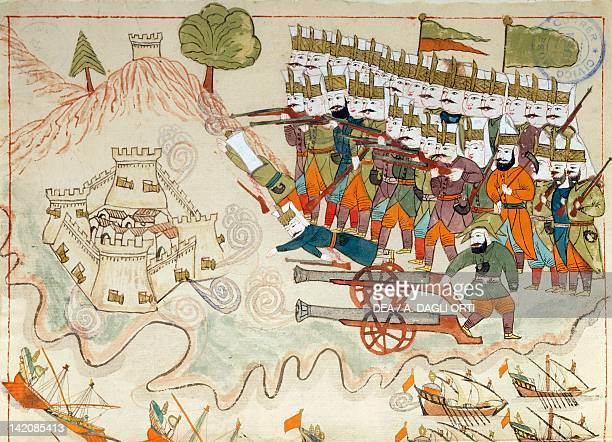 The Turkish army conquering the fortress of Lemnos miniature from Turkish Memories Arabic manuscript Cicogna Codex Turkey 17th Century