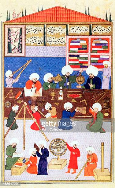 The Turkish astronomer Takiuddin at his observatory at Galata Istanbul 1581 Showing astronomical instruments in use at the time