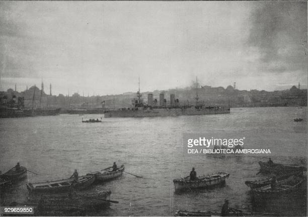 The Turkish battle cruiser Medjidie leaving Istanbul to protect Turkish troops landing in Rodosto , Turkey, First Balkan War, photograph by M Galli,...