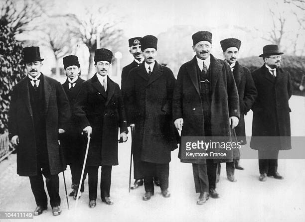 The Turkish delegation arrives at the peace conference's first meeting in Lausanne to form a peace accord with Greece Third from left is the Minister...