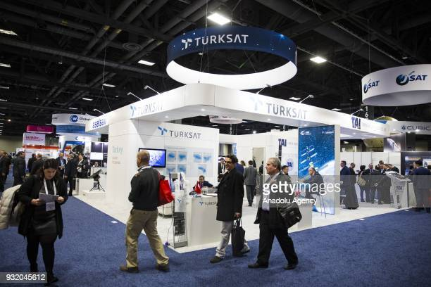 The Turksat section at the booth for Turkish satellite makers at the Satellite 2018 Exhibition in Washington USA on March 14 2018