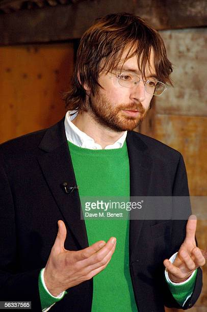 The Turner Prize winner of 2005 Simon Starling gestures as he speaks about his project Shedboatshed at the Turner Prize 2005 at Tate Britain on...